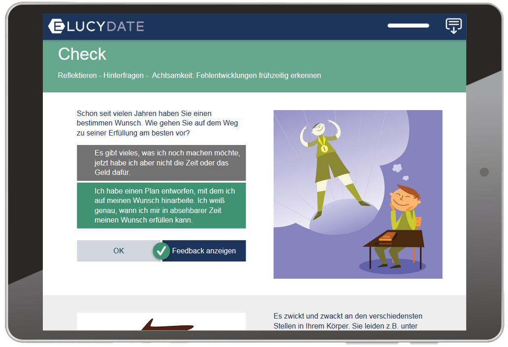 E-LUCY-DATE Screenshot Checkliste