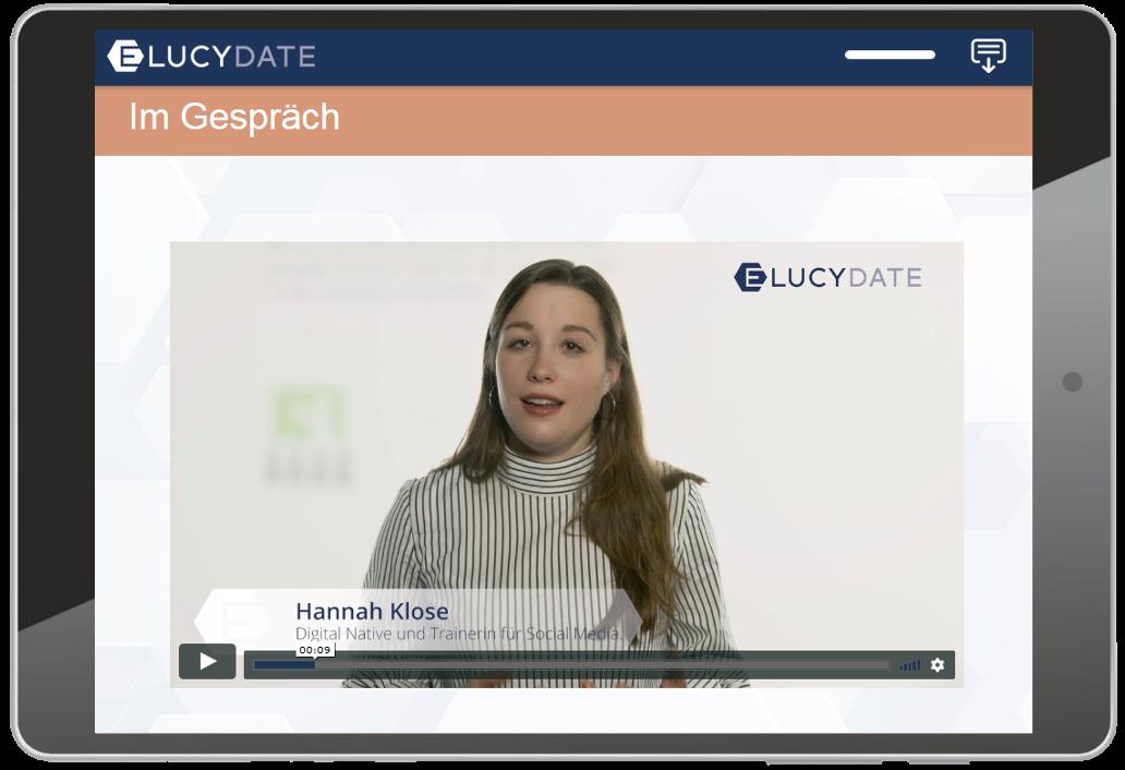 E-LUCY-DATE Screenshot Im Gespräch